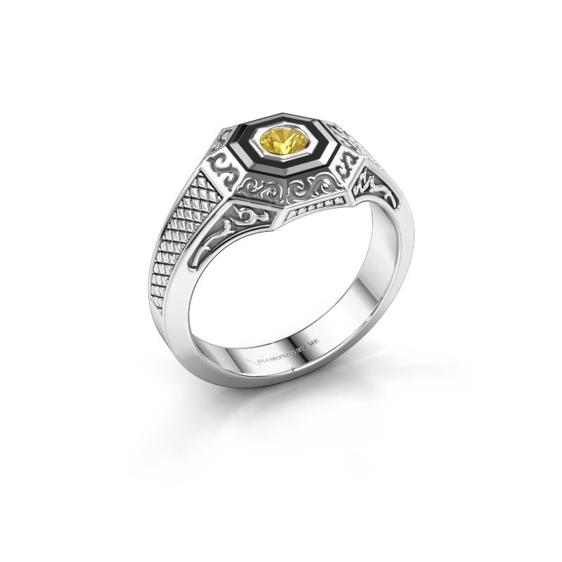 Men's ring Dion 375 white gold yellow sapphire 4 mm