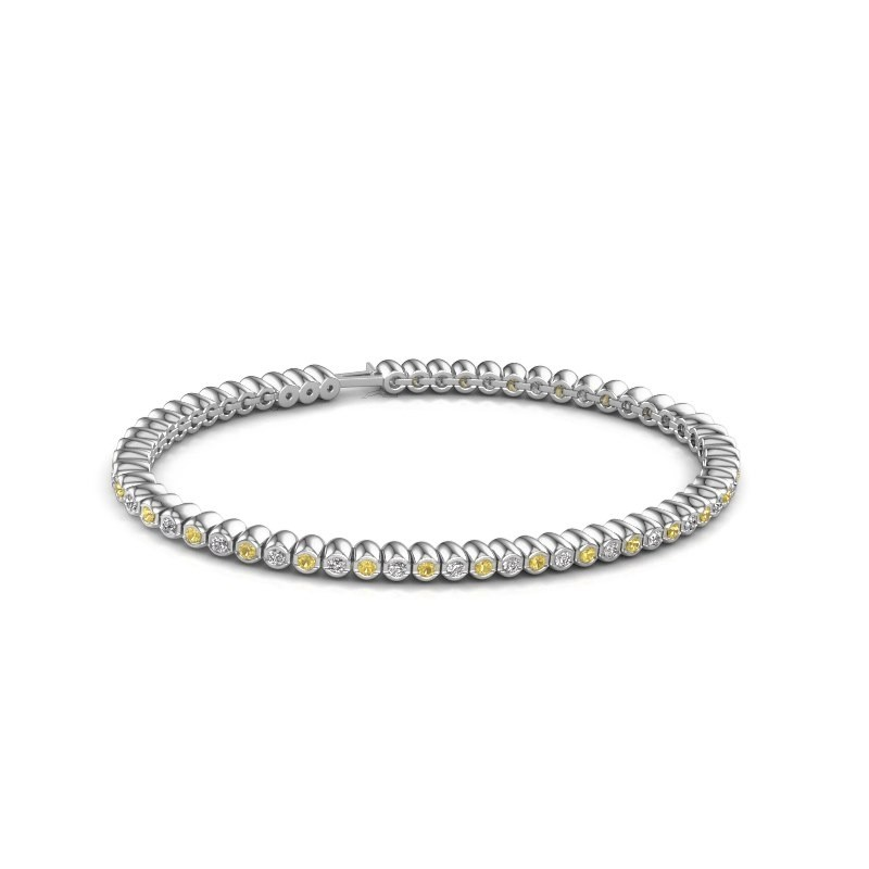 Tennisarmband Trix 585 witgoud gele saffier 2 mm