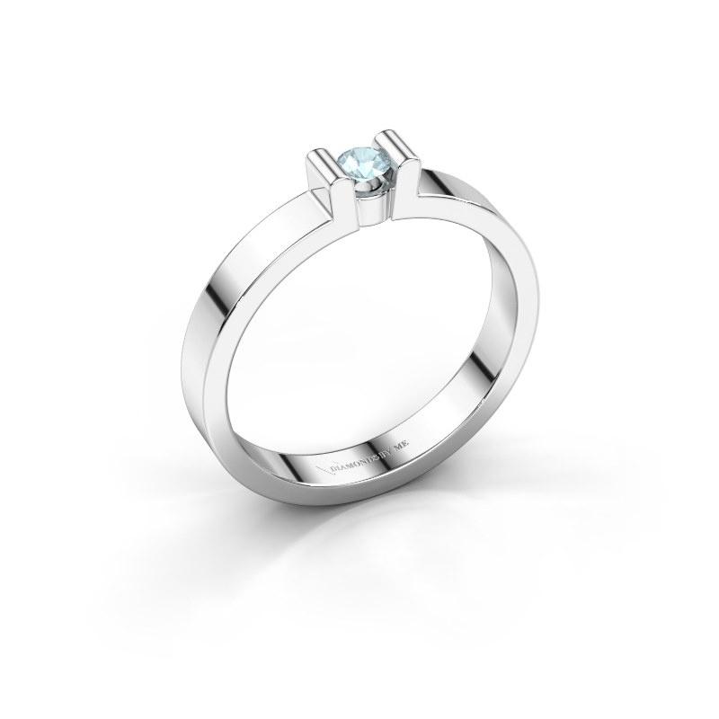 Verlovingsring Sofie 1 925 zilver aquamarijn 3 mm