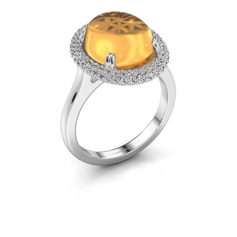 Ring Jayna 375 white gold citrin 12x10 mm