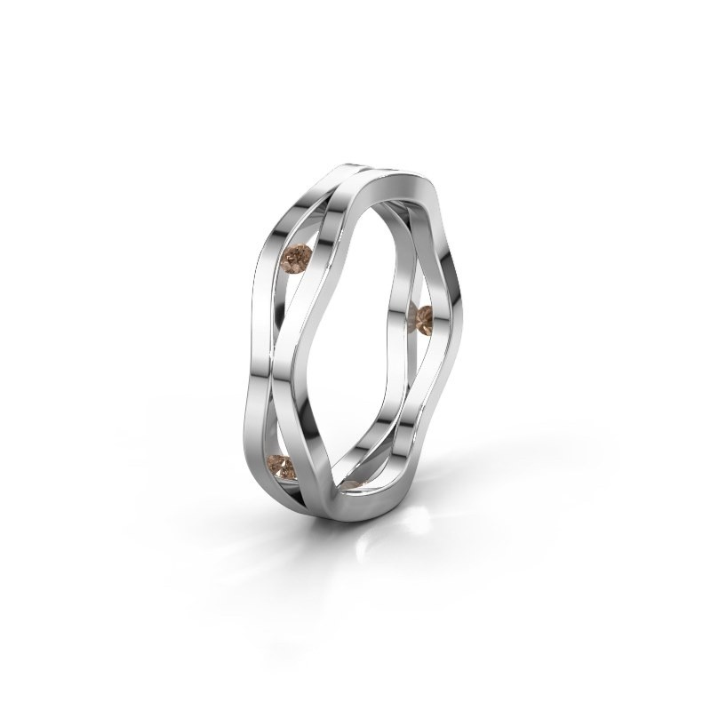 Trouwring WH2122L 585 witgoud bruine diamant ±5x1.8 mm