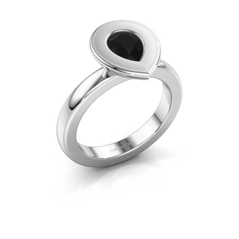 Stapelring Eloise Pear 925 zilver zwarte diamant 0.78 crt