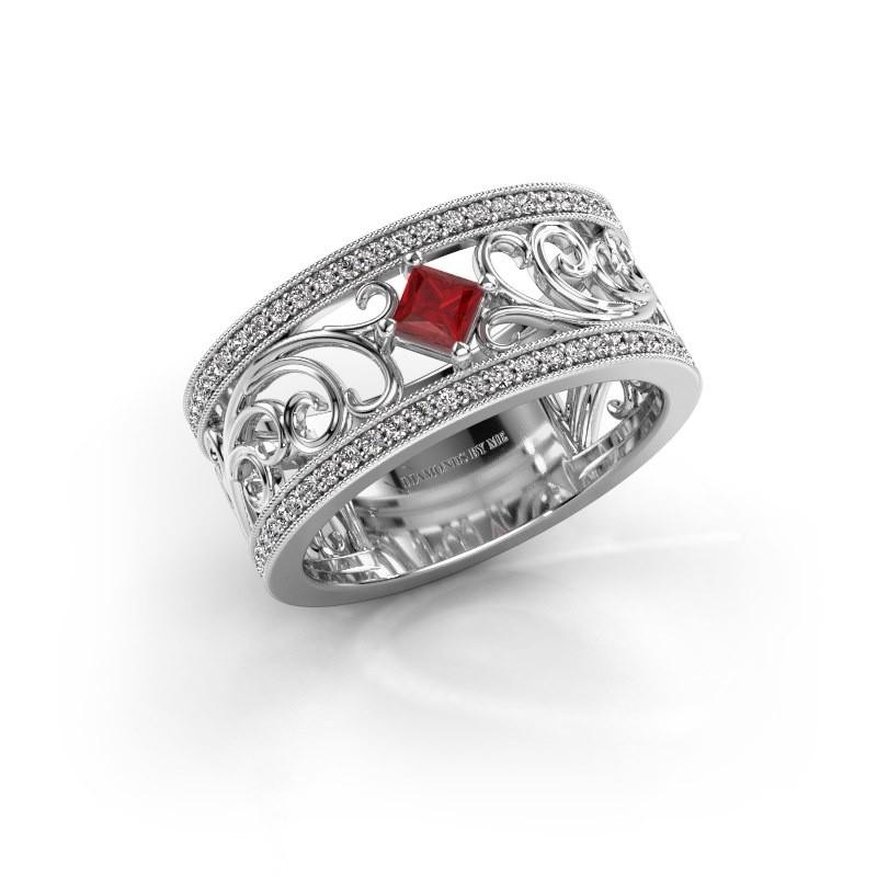 Ring Danae 925 silver ruby 3 mm