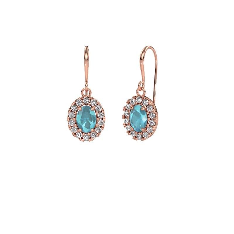 Drop earrings Jorinda 1 375 rose gold blue topaz 7x5 mm