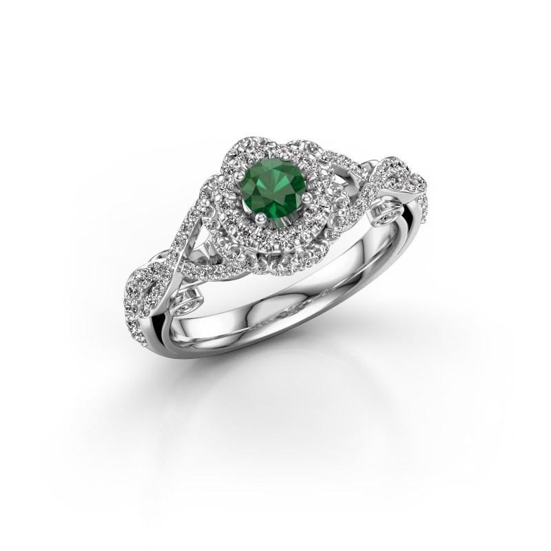 Verlovingsring Cathryn 585 witgoud smaragd 4 mm