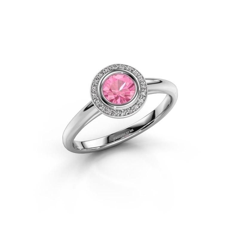 Promise ring Noud 1 RND 950 platina roze saffier 4.7 mm