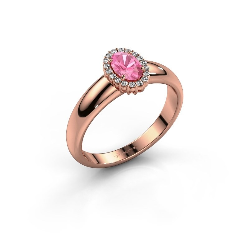 Engagement ring Tamie 375 rose gold pink sapphire 6x4 mm