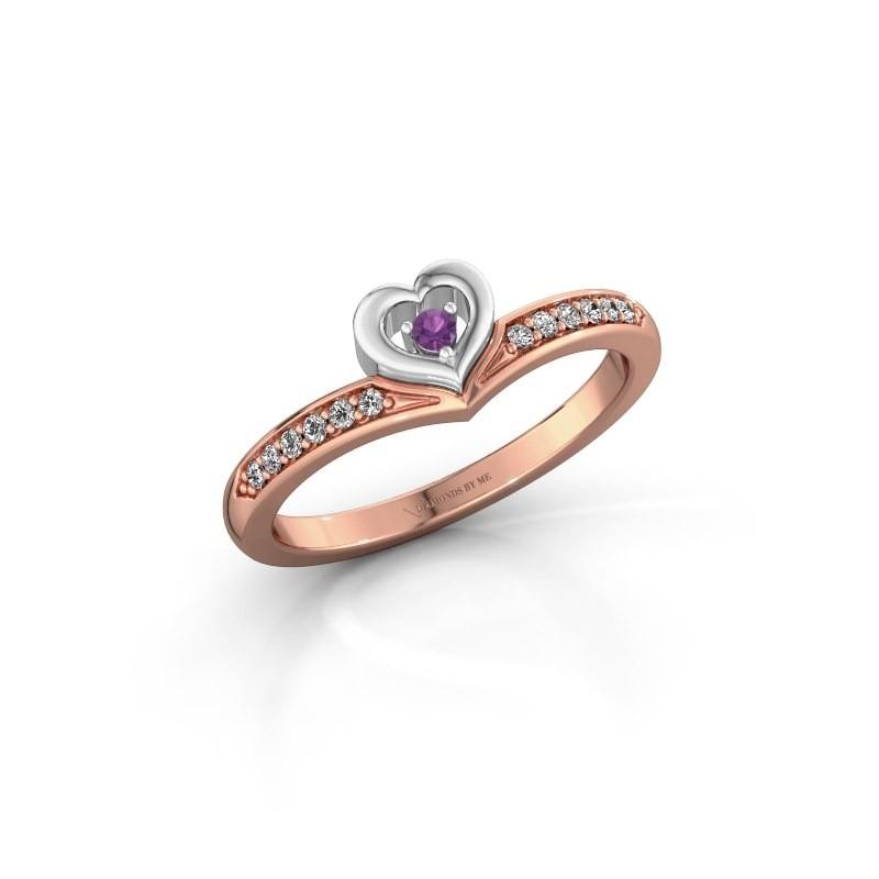 Ring Mimi 585 rosé goud amethist 2 mm