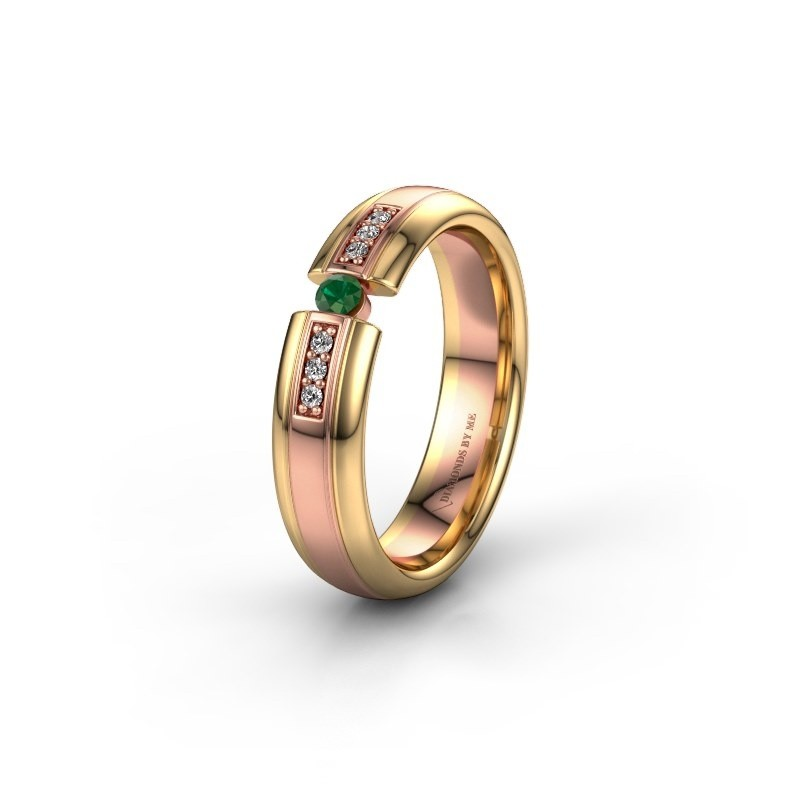 Wedding ring WH2128L26C 585 rose gold emerald ±5x2 mm