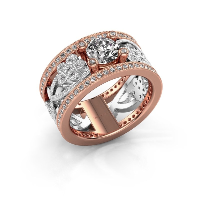 Ring Severine 585 rosé goud zirkonia 6 mm