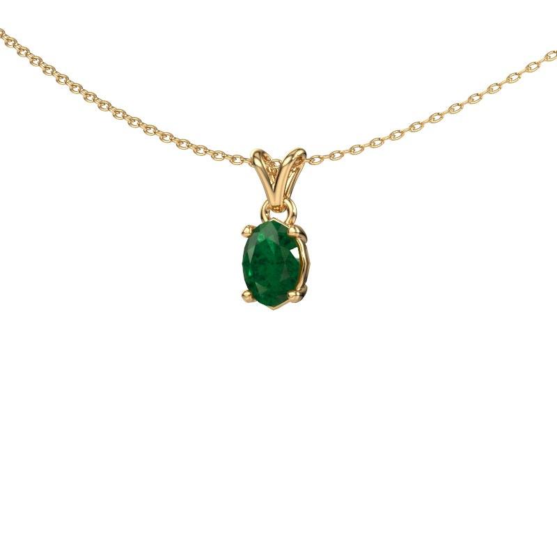 Ketting Lucy 1 585 goud smaragd 7x5 mm