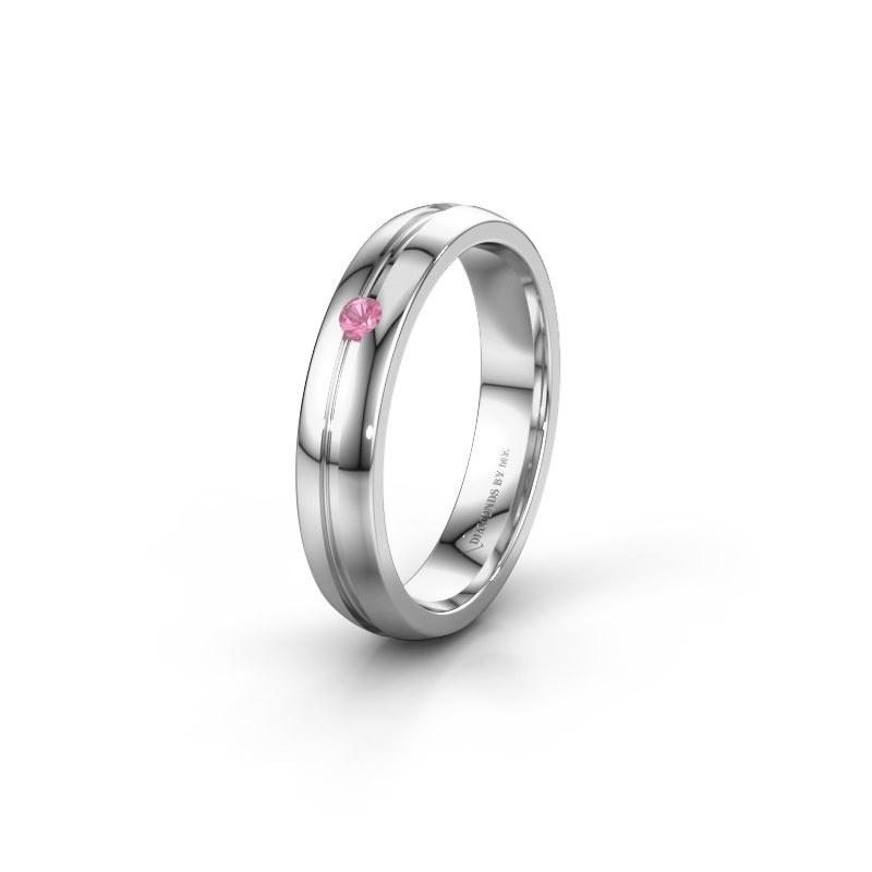 Trouwring WH0424L24A 950 platina roze saffier ±4x1.7 mm