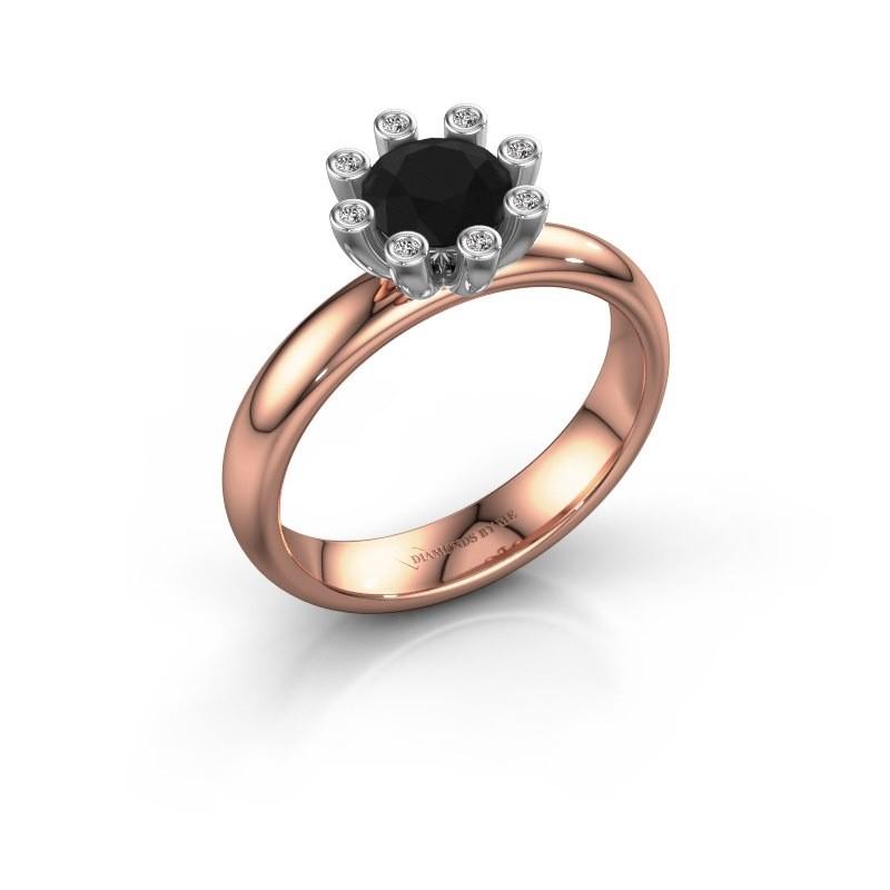 Stapelring Carola 3 585 rosé goud zwarte diamant 1.00 crt