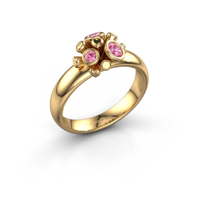Ring Pameila 585 goud roze saffier 2 mm