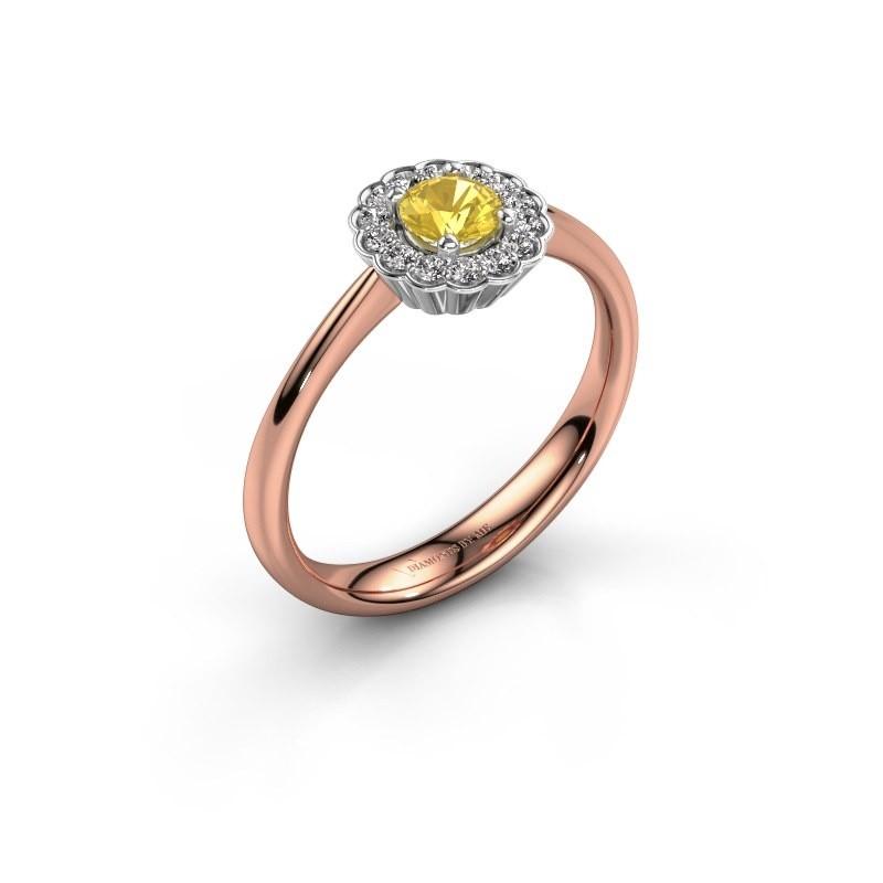 Verlovingsring Debi 585 rosé goud gele saffier 4.2 mm
