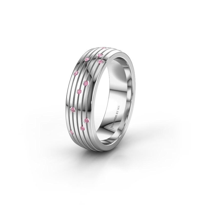 Trouwring WH0150L26A 925 zilver roze saffier ±6x1.7 mm