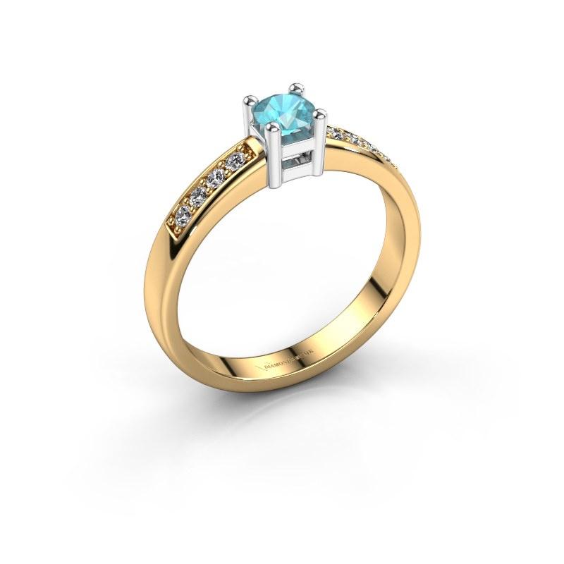 Engagement ring Eline 2 585 gold blue topaz 3.7 mm