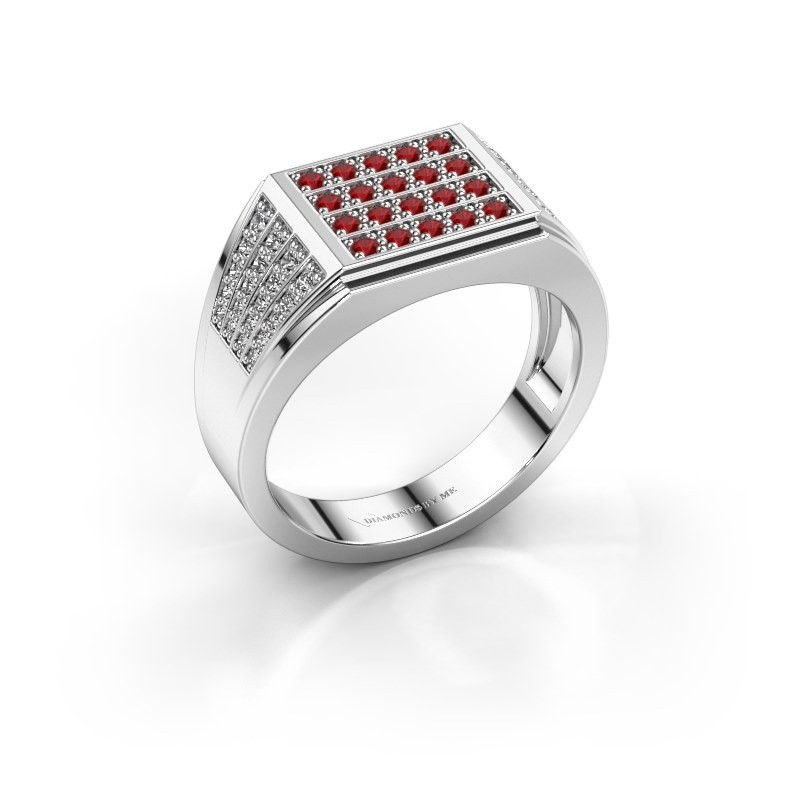Men's ring Tim 585 white gold ruby 1.5 mm
