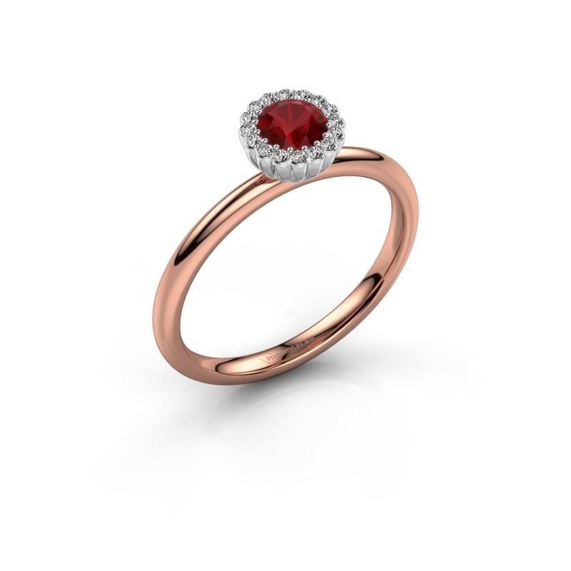 Verlovingsring Queen 585 rosé goud robijn 4.2 mm