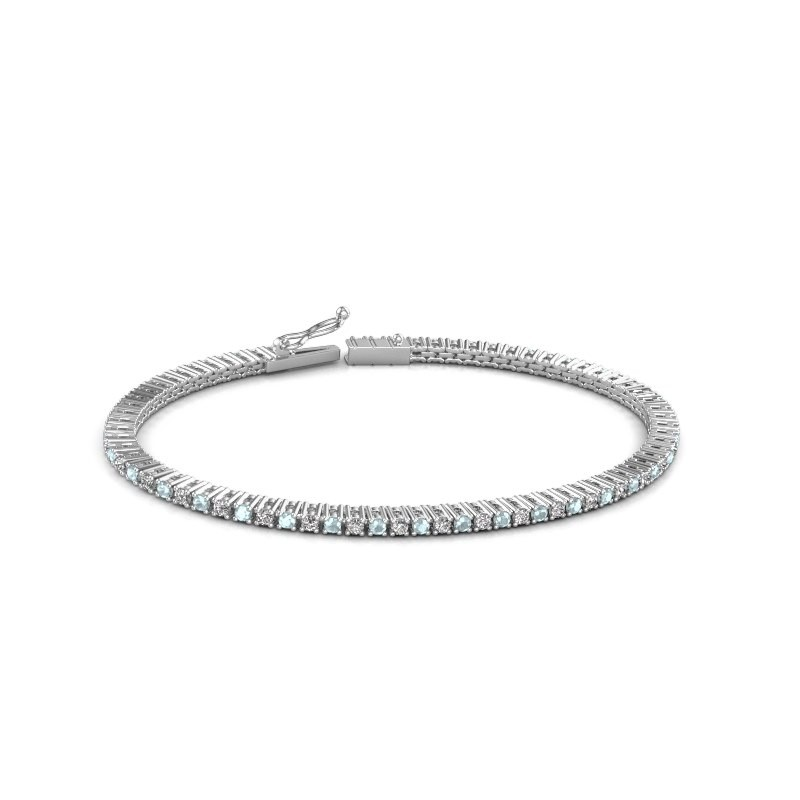 Tennis bracelet Simone 585 white gold aquamarine 2 mm