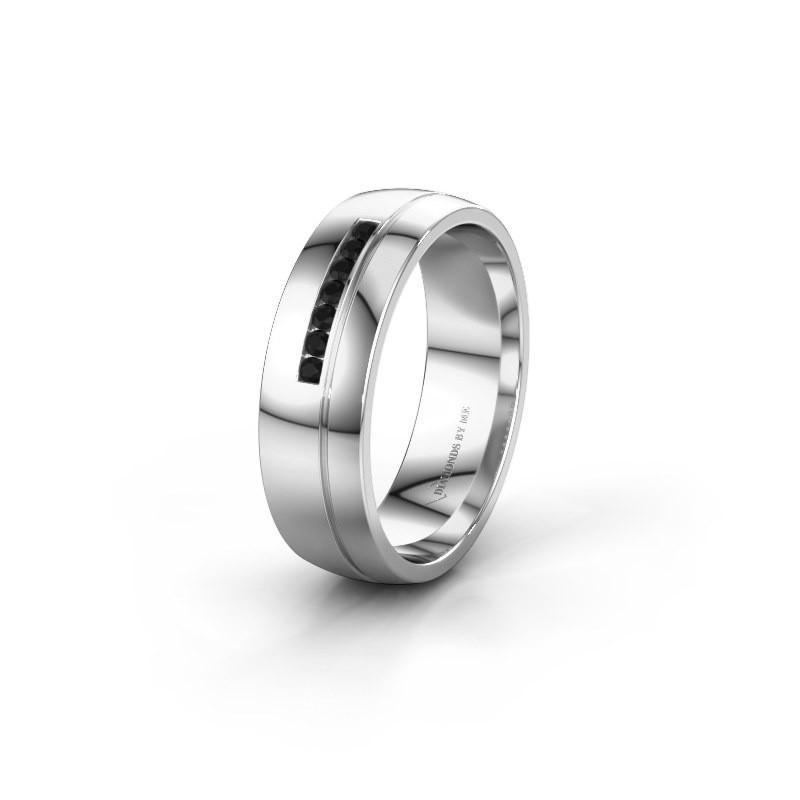 Trouwring WH0308L26AP 925 zilver zwarte diamant ±6x1.7 mm