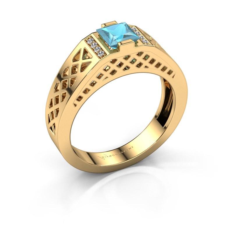 Herrenring Jonathan 585 Gold Blau Topas 5 mm