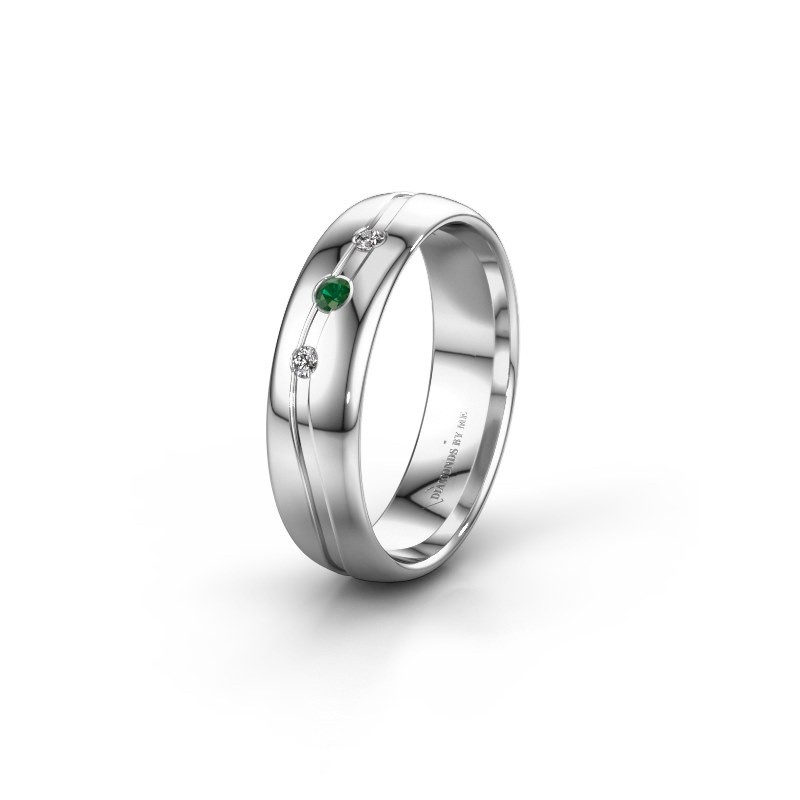 Friendship ring WH0907L35X 585 white gold emerald ±5x1.4 mm