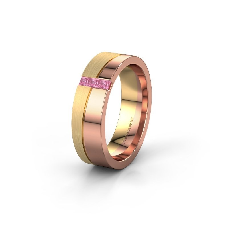 Wedding ring WH0906L16A 585 rose gold pink sapphire ±6x1.7 mm