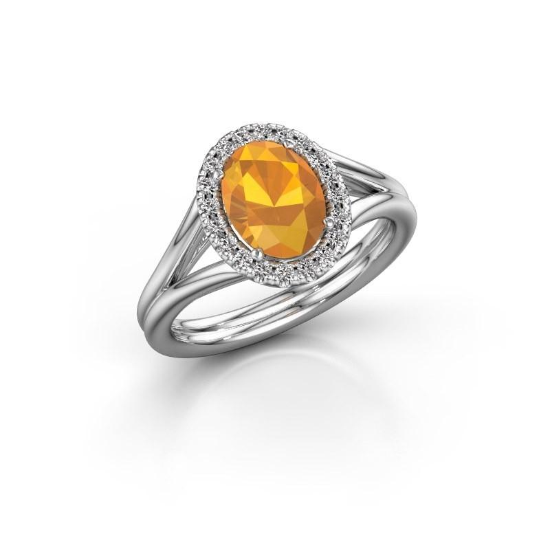 Engagement ring Rachele 1 950 platinum citrin 8x6 mm