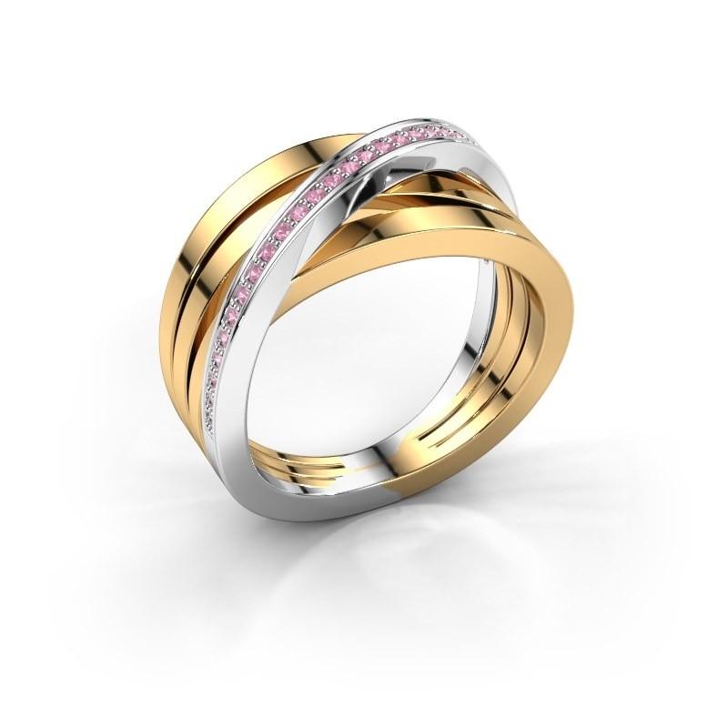 Ring Esmee 585 goud roze saffier 1 mm