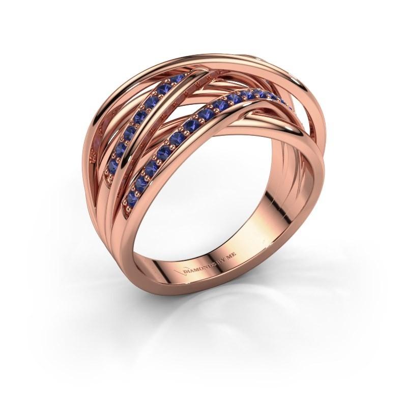 Ring Fem 2 375 rose gold sapphire 1.5 mm