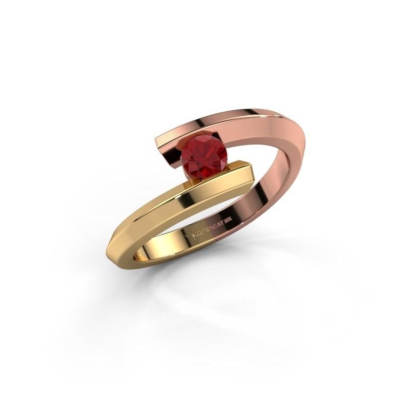 Ring Paulette 585 rose gold ruby 3.4 mm