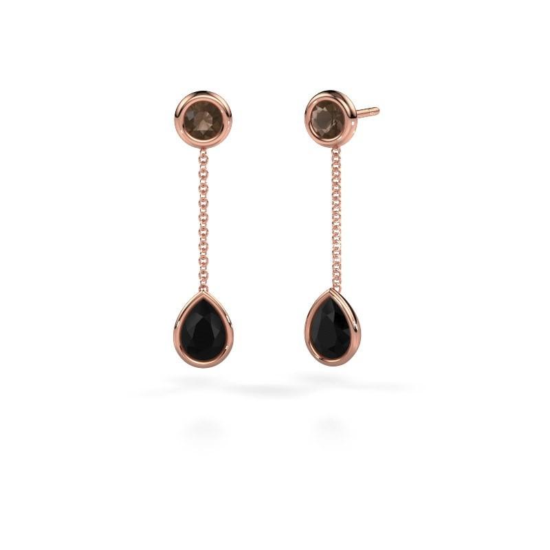 Oorhangers Ladawn 585 rosé goud zwarte diamant 0.78 crt