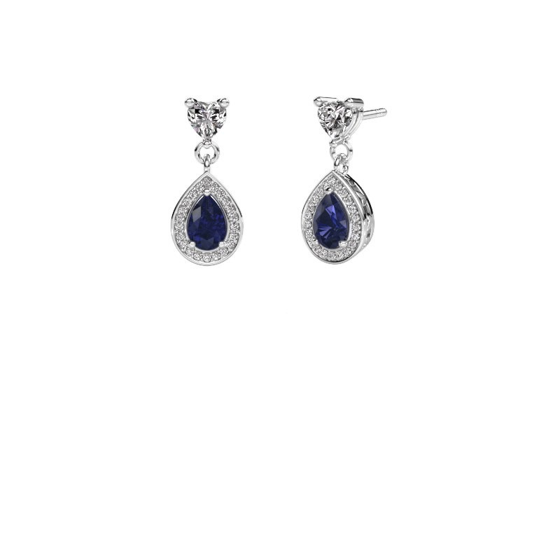 Drop earrings Susannah 585 white gold sapphire 6x4 mm