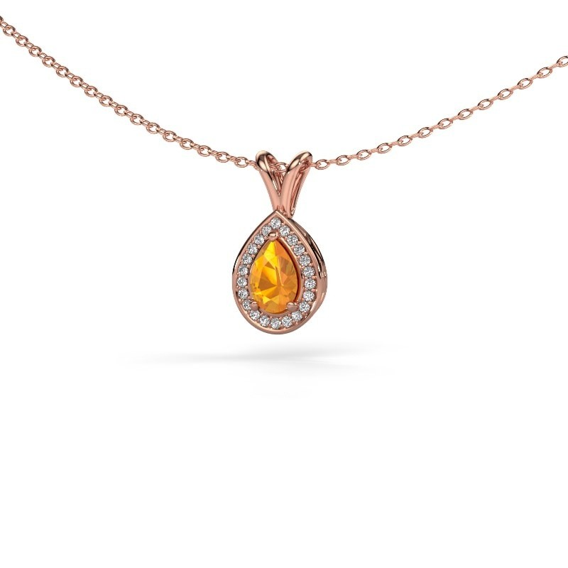 Collier Ginger 375 or rose citrine 6x4 mm