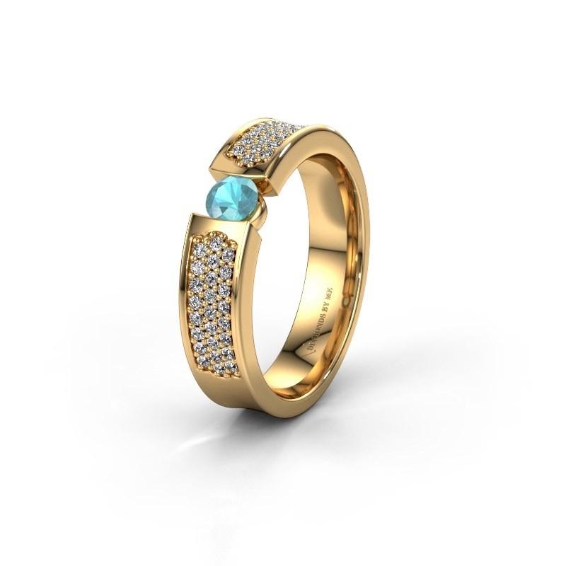 Trouwring WH2100L 375 goud blauw topaas ±5x3 mm