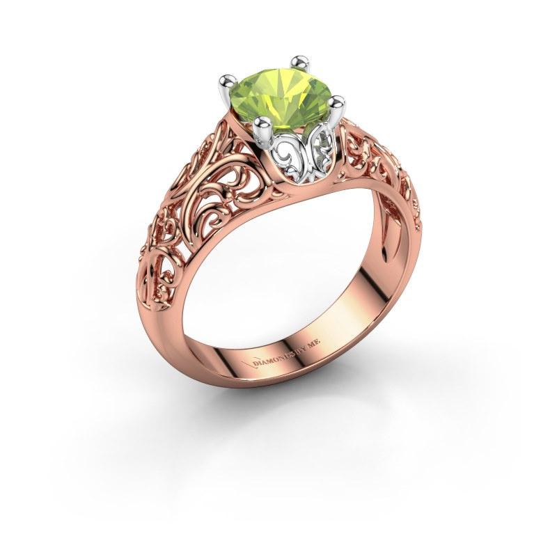 Ring Mirte 585 rosé goud peridoot 6.5 mm