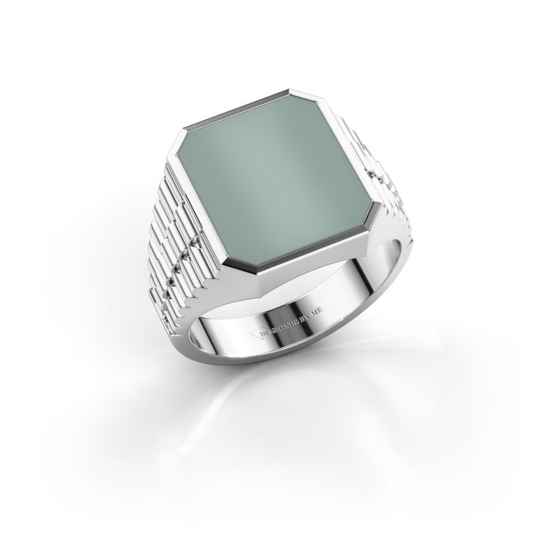 Rolex stijl ring Brent 3 585 witgoud groene lagensteen 14x12 mm