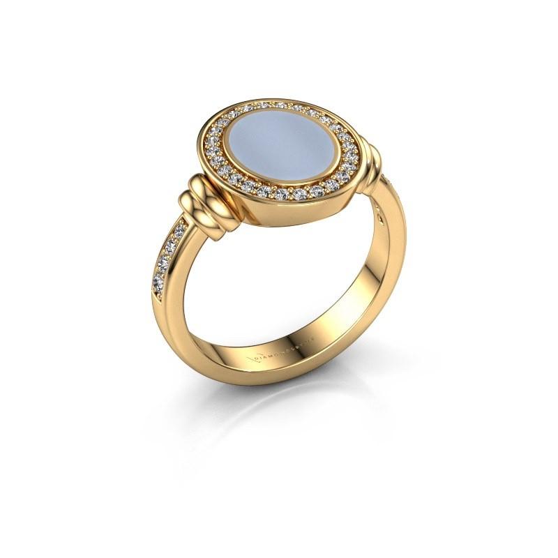 Zegelring Bailey 585 goud licht blauwe lagensteen 10x8 mm