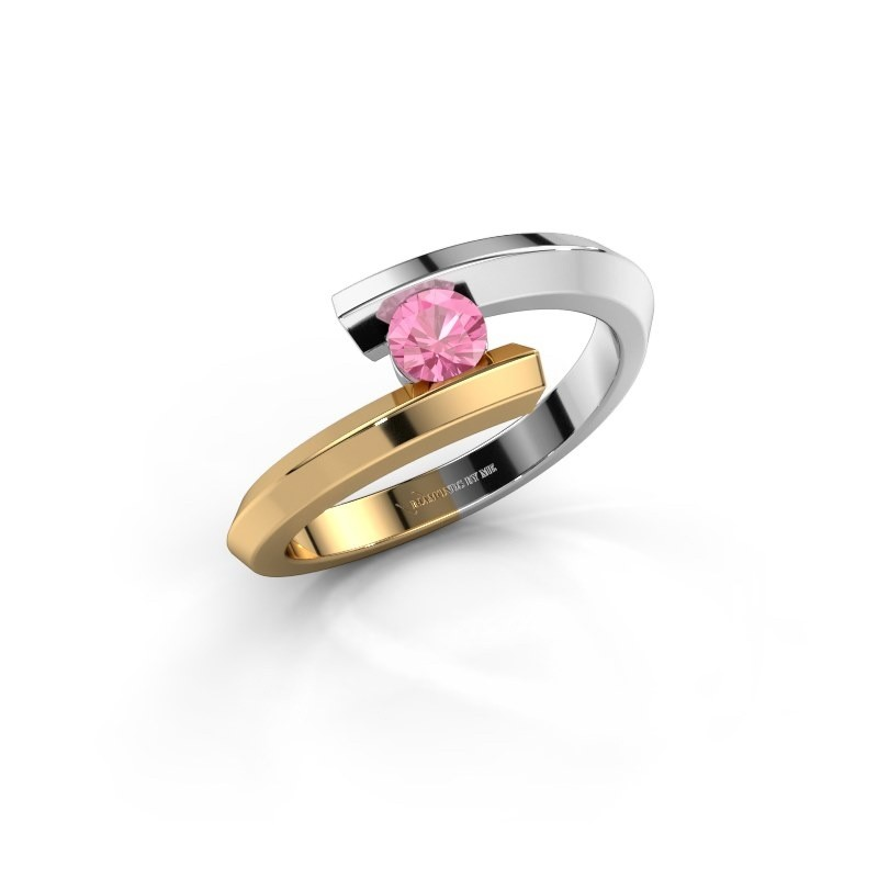 Ring Paulette 585 witgoud roze saffier 3.4 mm