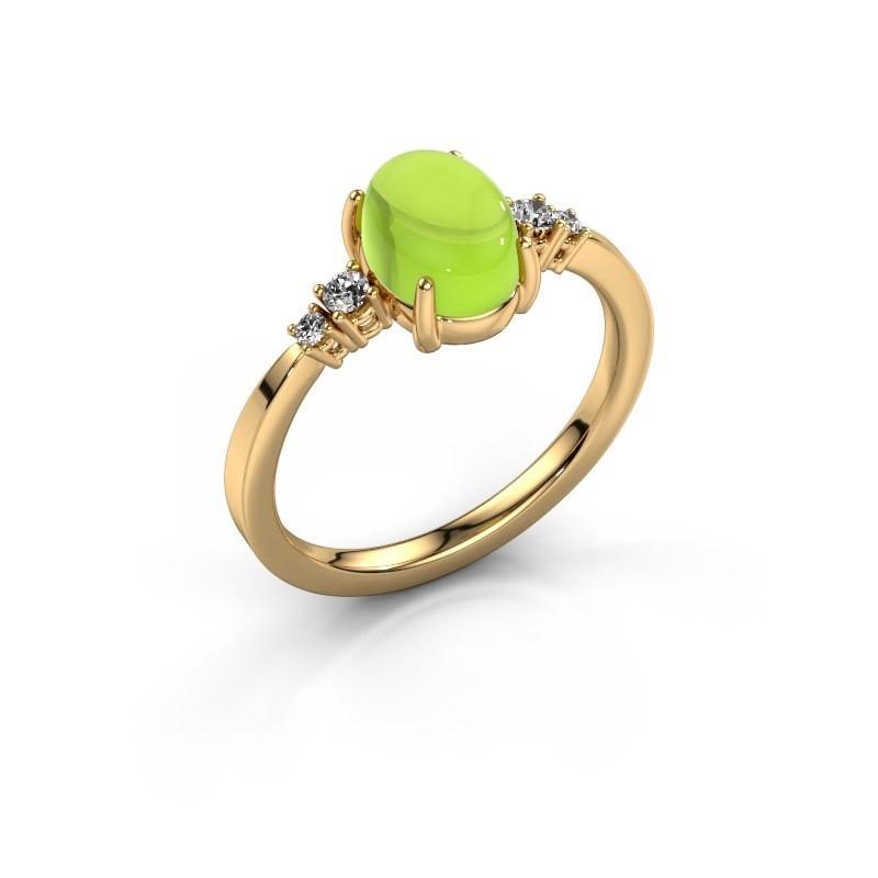 Ring Jelke 585 goud peridoot 8x6 mm