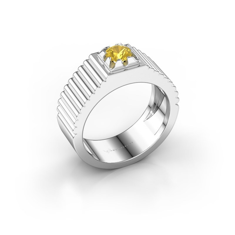 Pink ring Elias 585 witgoud gele saffier 5 mm