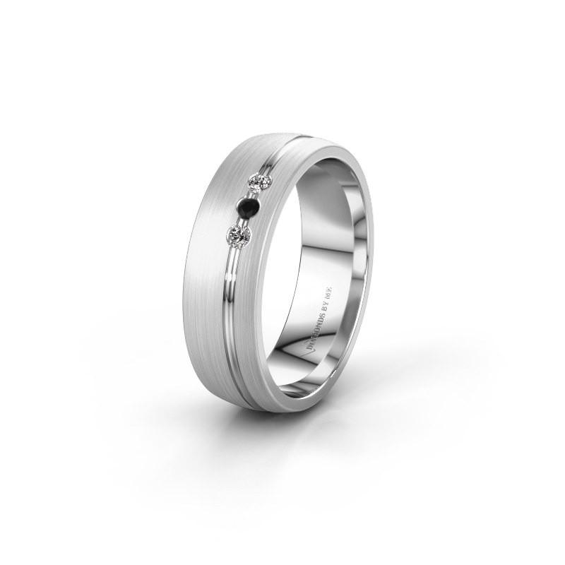 Trouwring WH0322L25AM 925 zilver zwarte diamant ±6x1.7 mm