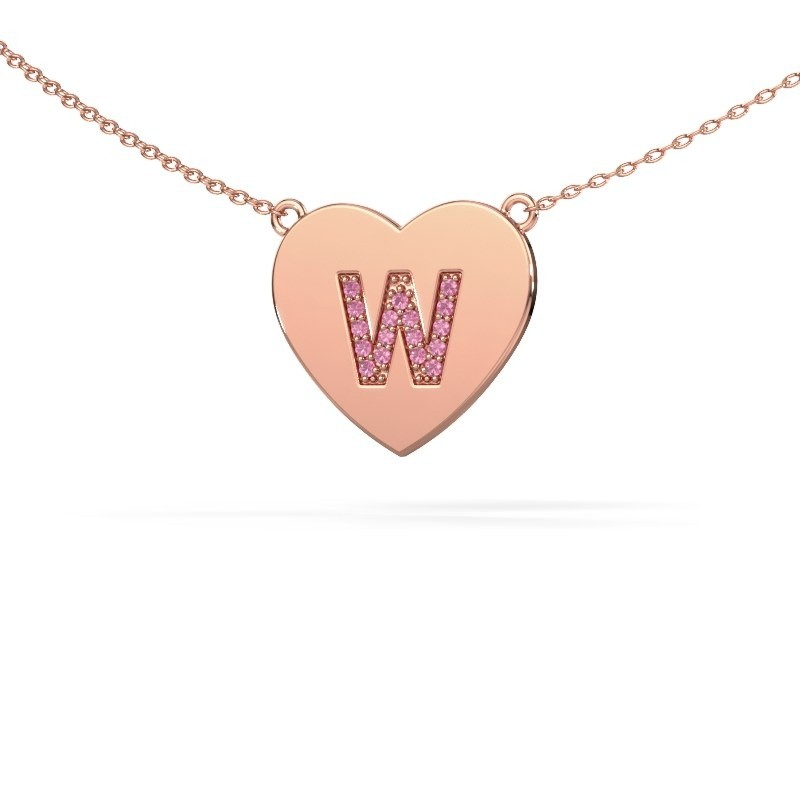 Letter hanger Initial Heart 375 rosé goud
