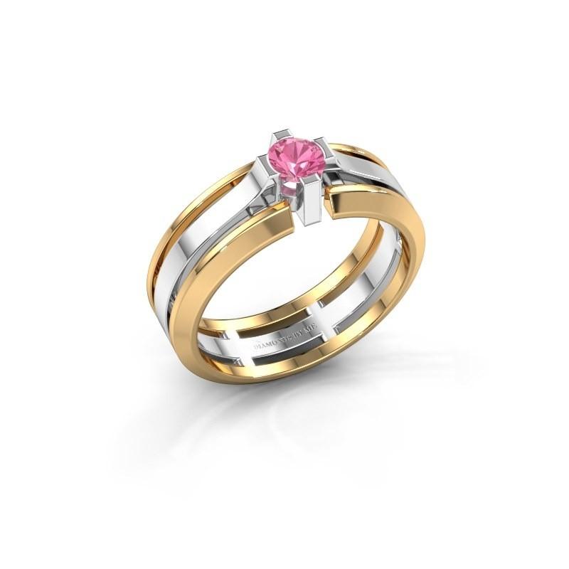 Heren ring Sem 585 witgoud roze saffier 4.7 mm
