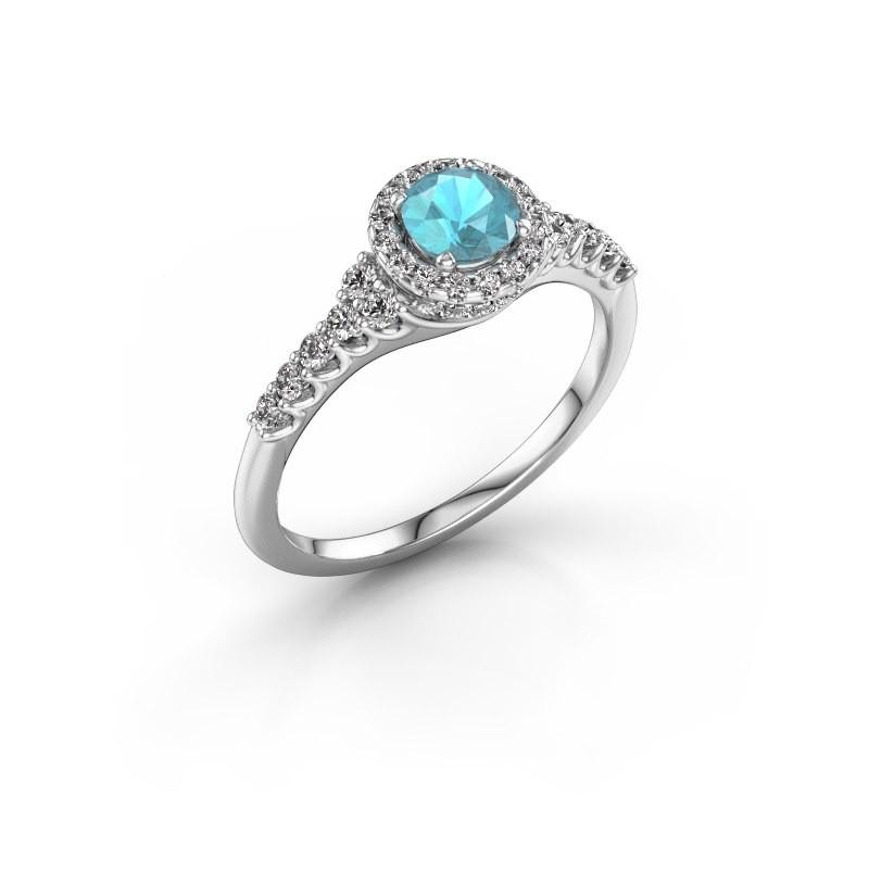 Verlovingsring Loralee 585 witgoud blauw topaas 5 mm