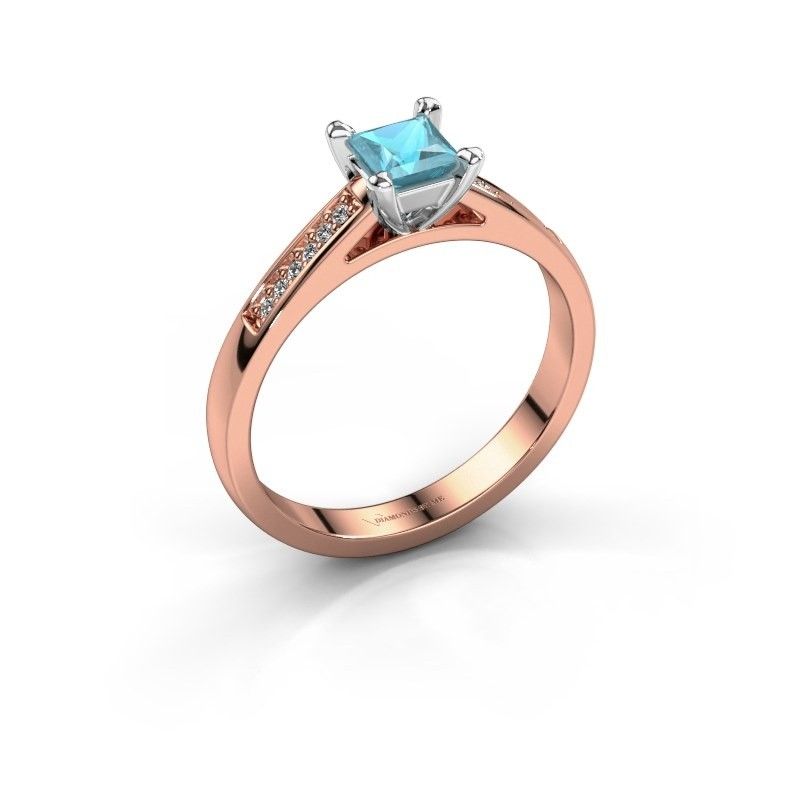 Engagement ring Nynke SQR 585 rose gold blue topaz 4 mm