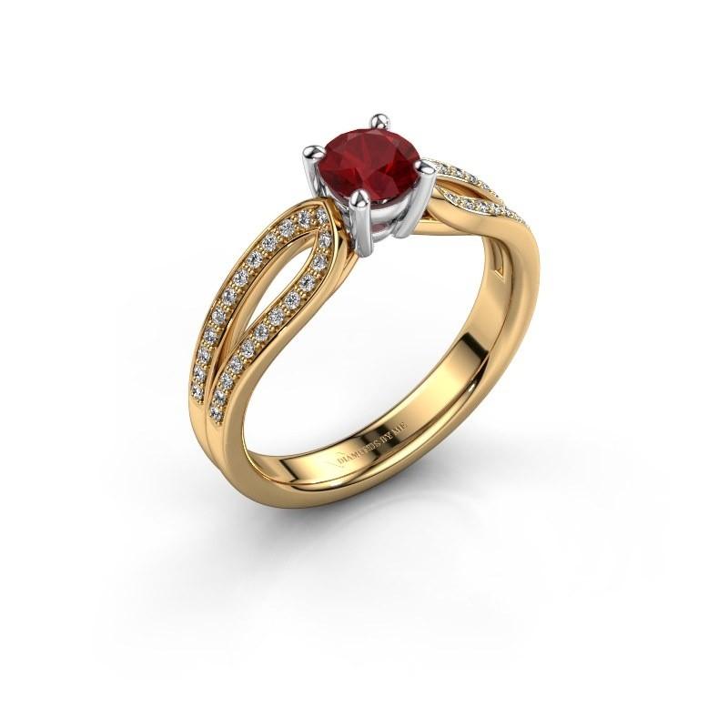 Verlovingsring Antonia 2 585 goud robijn 5 mm
