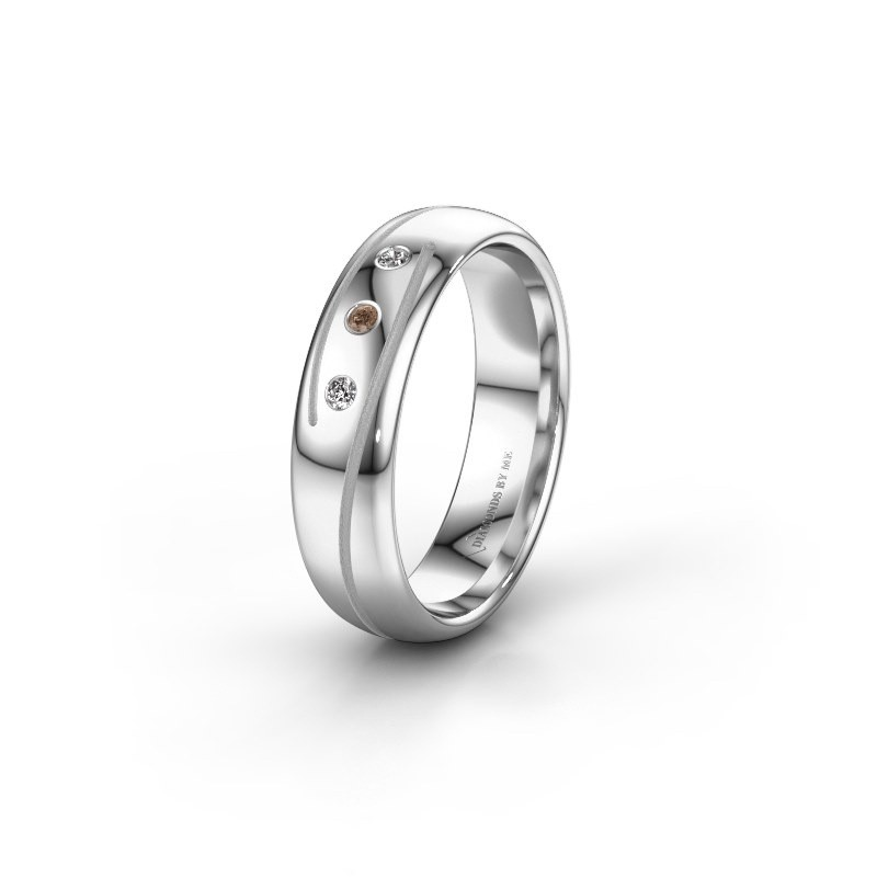 Trouwring WH0152L25A 950 platina bruine diamant ±5x1.7 mm