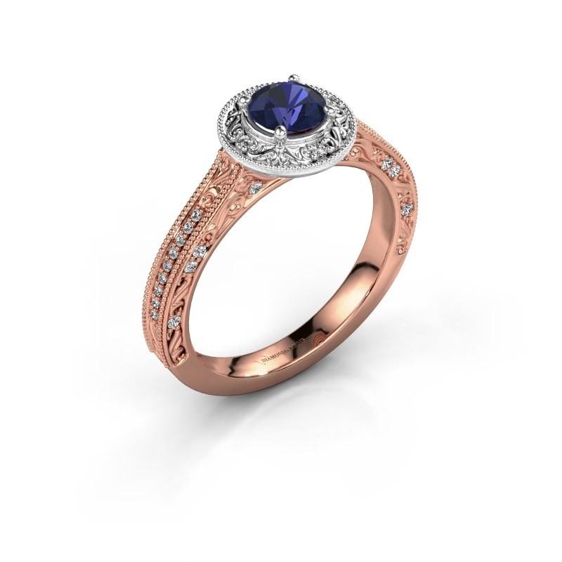 Verlovings ring Alice RND 585 rosé goud saffier 5 mm